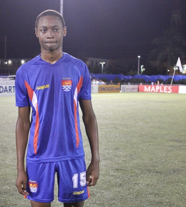 Akeem Hydes scored the lone goal for the Cayman Islands B Select team in a 4-1 loss to Chalton Athletic in the CAL Cup last night (photo: Kimberlie Mcfield)