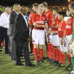 CIFA 1st Vice President Bruce Blake meets the players from Charlton Athletic.
