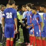 Cayman Islands B Select Team captain Vincent LaChance introduces his teammates to dignitaries