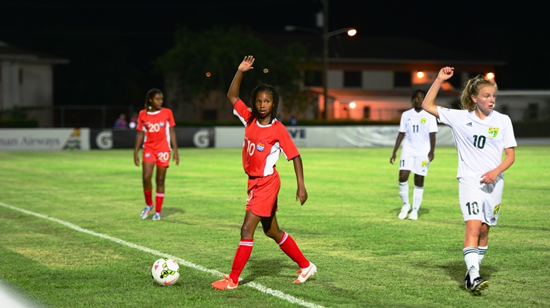 Chelsea Green (10) scored a hattrick for the Cayman Islands on the opening night of the CONCACAF Girls U-15 Championships.